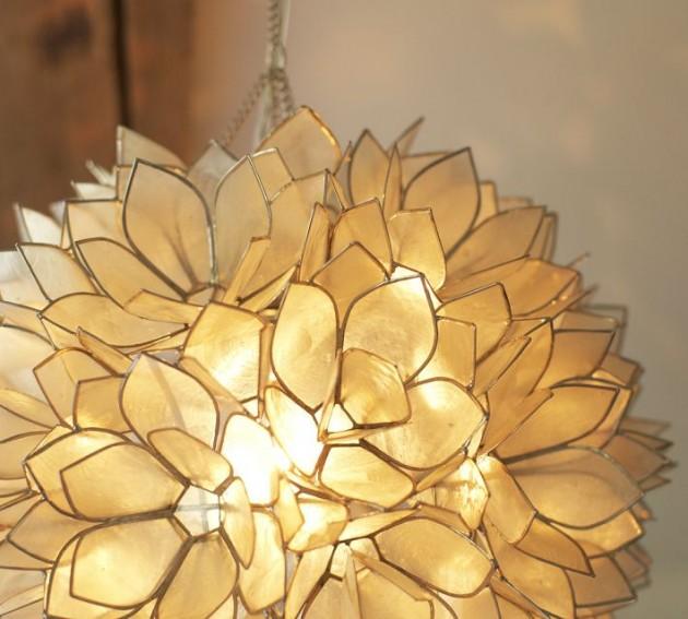 A luminous lotus flower capiz pendant ingenious look source aloadofball Gallery