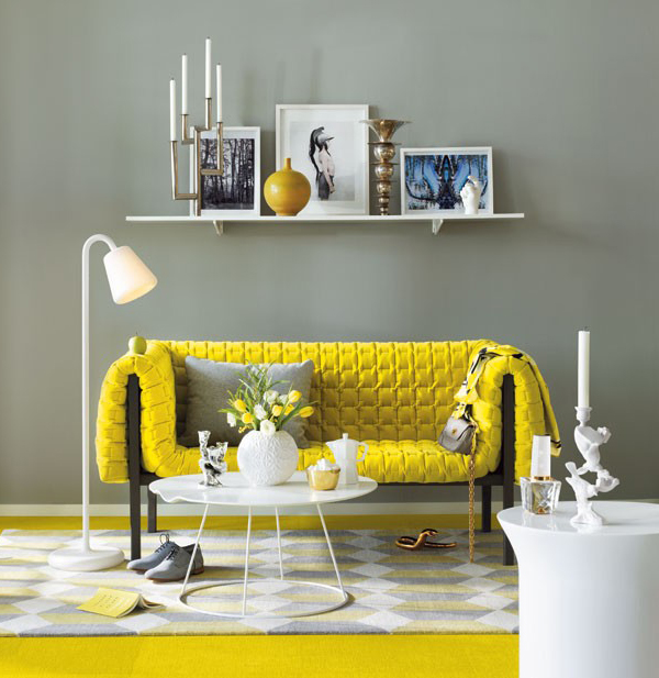 Modern living room design ideas with yellow sofa for Yellow living room decorating ideas